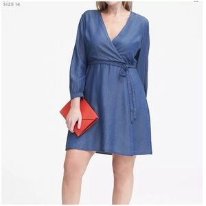 Banana Republic Tencel Chambray Wrap Dress Blue 14